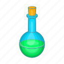 bottle, cartoon, cork, green, liquid, medicine, potion icon