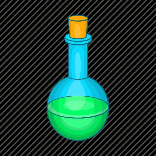 bottle, cartoon, cork, green, liquid, medicine, potion icon