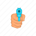 cartoon, criminal, gun, handgun, pistol, weapon, white icon