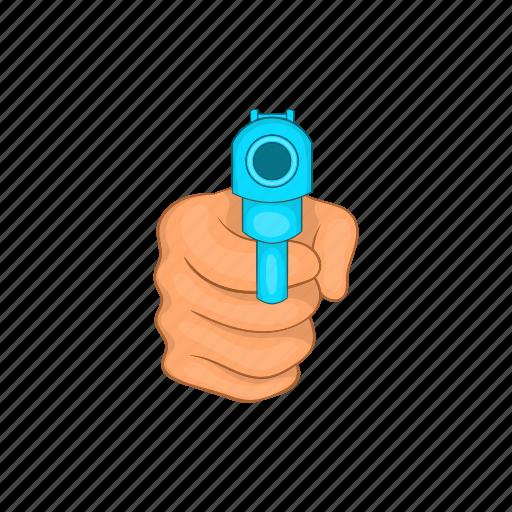 cartoon, criminal, gun, handgun, pistol, weapon, white icon