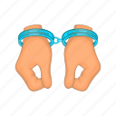 arrest, cartoon, crime, criminal, hand, handcuff, justice icon