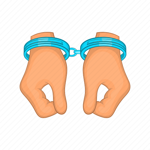 arrest, cartoon, crime, criminal, hand, handcuff, justice icon