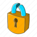 cartoon, lock, padlock, protection, safety, security, steel icon