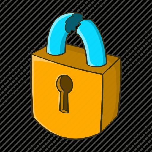 cartoon, lock, padlock, protection, safety, security, steel icon