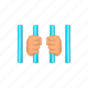 bar, cartoon, cell, hand, jail, prison, prisoner icon
