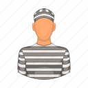 cartoon, criminal, jail, justice, man, prison, prisoner