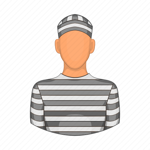 cartoon, criminal, jail, justice, man, prison, prisoner icon