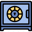 crime, investigation, money, safebox icon