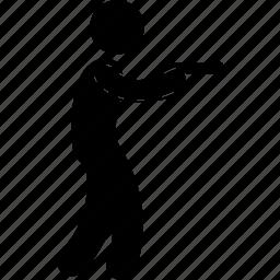 gun, holding, man, pistol, shoot, shot, using icon