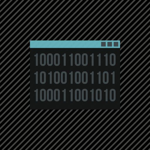 binary, code, computer, data, digital, program, screen icon