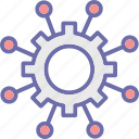 automated solutions, automation, cogwheel, engineering icon