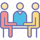business communication, business conversation, business discussion, business meeting icon