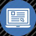 laptop, web browsing, web interface, web search icon