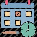 alarm clock, calendar, deadline, schedule icon