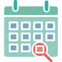 action plan, schedule planning, search calendar, time management icon