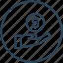 dollar, donation, funding, hand, money icon
