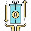based, crowdfunding, gift, present, reward, reward based crowdfunding icon