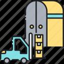 forklift, logistics, storage, storage unit, warehouse, warehousing icon