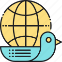 pigeon, shipping, worldwide, worldwide delivery, worldwide shipping icon