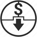 bank, cash, cashout, dollar, money, out, payment icon