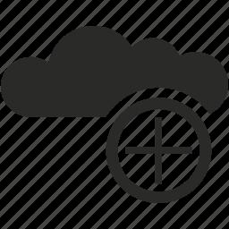 add, cloud, data, network, service, storage, weather icon