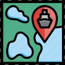 map, archeology, location, prehistoric, gps icon