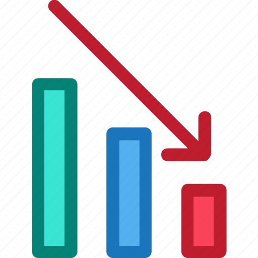 decrease, economy, finance, fintech, office, statistic bar icon