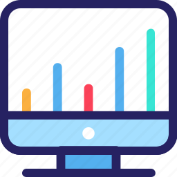 economy, finance, fintech, monitor, office, statistic bar icon