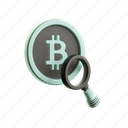 magnifying, lens, bitcoin, blockchain, cryptocurrency, search, find