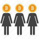 bank, bitcoin, coin, crypto, currency, digital, womans icon
