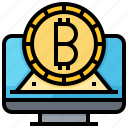 bitcoin, cashless, computer, cryptocurrency, currency, gold icon