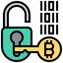 bitcoin, digital, encryption, key, lock, protection, security icon