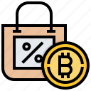 bitcoin, cashless, cryptocurrency, currency, discount icon