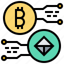 bitcoin, cashless, cryptocurrency, currency, digital, exchange icon