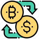 bitcoin, cashless, cryptocurrency, currency, dollar, exchange icon