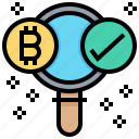 bitcoin, check, confirmation, cryptocurrency, data, find, search icon