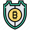 bitcoin, cashless, cryptocurrency, encryption, protection, shield icon