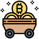 bitcoin, cart, cashless, cryptocurrency, currency, digital, mine icon