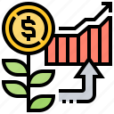 benefit, chart, growth, investment, return icon