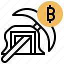bitcoin, cryptocurrency, mining, pickax, trade icon