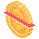 blockchain, broken bitcoin, half bitcoin, halving, split bitcoin icon