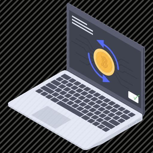 banking app, bitcoin blockchain, bitcoin payment, bitcoin transaction, bitcoin transfer, online cryptocurrency icon