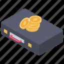 bitcoin bag, briefcase, business bag, business case, portfolio icon