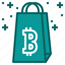 bitcoin, cryptocurrency, purchase, shopping, spend icon
