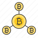 bitcoin, blockchain, coin, cryptocurrency, digital currency, network icon