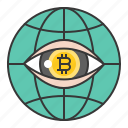 bitcoin, blockchain, coin, cryptocurrency, digital currency, investment, surveillance icon
