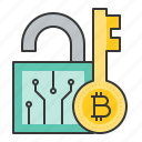 bitcoin, blockchain, cryptocurrency, digital currency, key, lock, safe, save icon