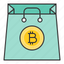 bag, bitcoin, blockchain, coin, cryptocurrency, digital currency icon