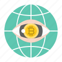 bitcoin, blockchain, cryptocurrency, digital currency, investment, surveillance icon