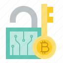 bitcoin, blockchain, cryptocurrency, digital currency, key, lock icon